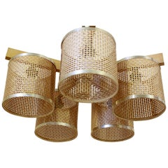 Vintage Wicker Pendant Lamp, 1970s