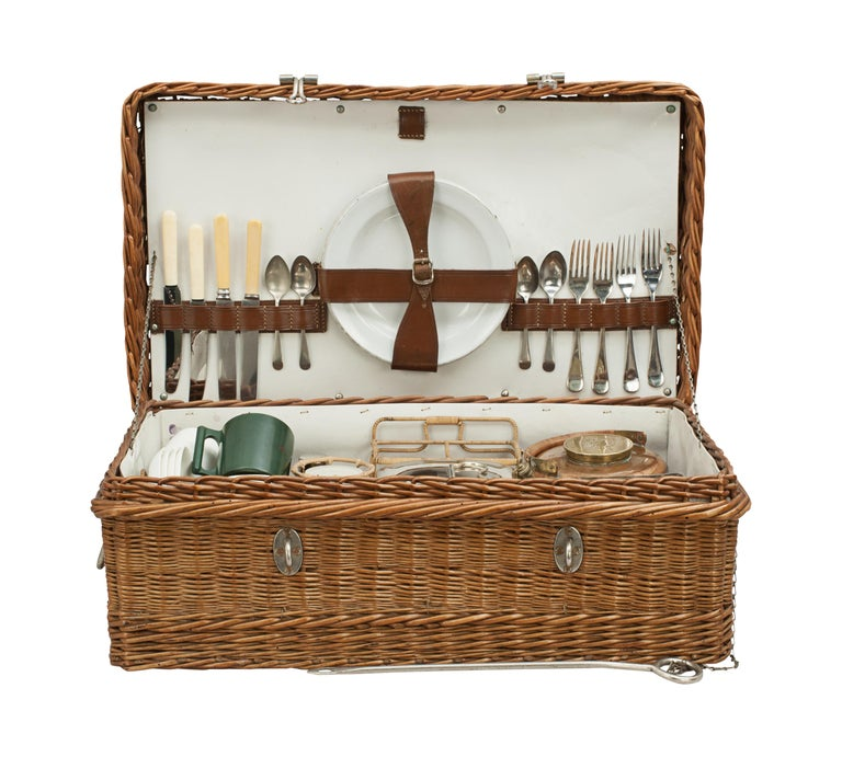 1960s Optima Picnic Set for 4 in Wicker Basket Orange Components Excellent Condition Made in England Complete and Ready to Use!