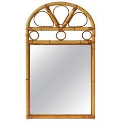 Vintage Wicker Rattan Bentwood Wall Mirror