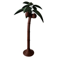 Vintage Wicker Rattan Palm Tree Floor Lamp