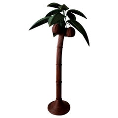 Vintage Wicker Rattan Palm Tree Floor Lamp