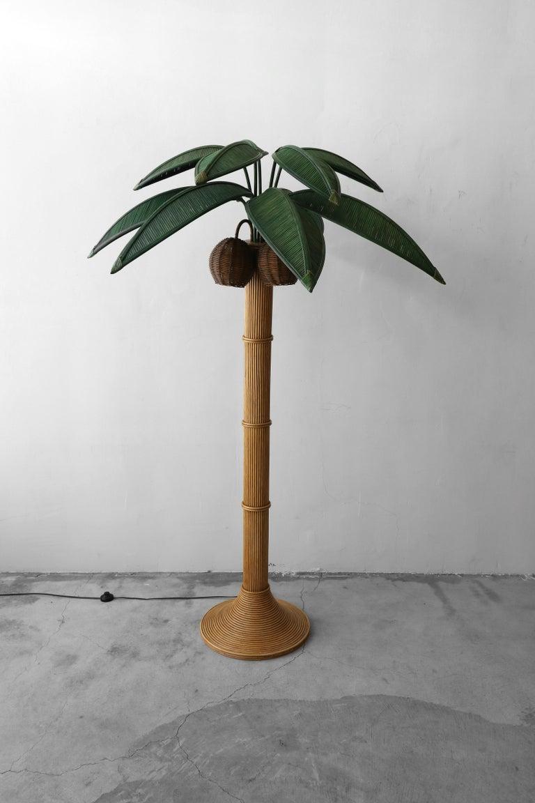 Vintage Wicker Rattan Palm Tree Floor Lamp Style Of Mario