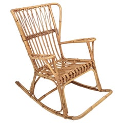Vintage Wicker Rocking Chair, Italy, 1980s