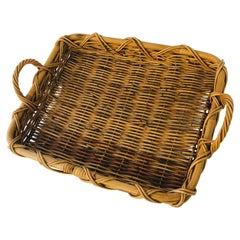 Vintage Wicker Serving Tray
