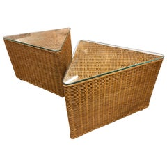 Vintage Wicker Side Tables, Triangle Shape, Sold Separately