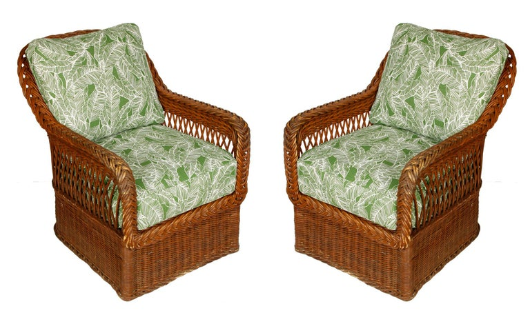 Vintage Ficks Reed wicker sofa and chairs set brought to life with new, outdoor green, palm leaf cushions. Sofa measures 72