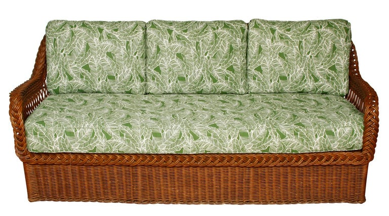 Vintage Wicker Sofa and Chairs with New Outdoor Cushions In Good Condition In Locust Valley, NY