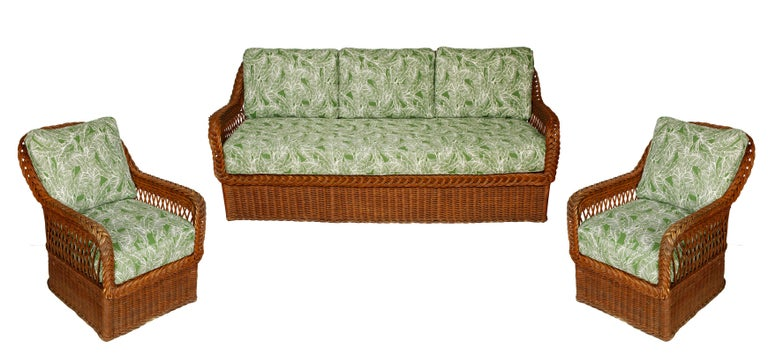 20th Century Vintage Wicker Sofa and Chairs with New Outdoor Cushions