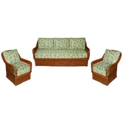 Vintage Wicker Sofa and Chairs with New Outdoor Cushions