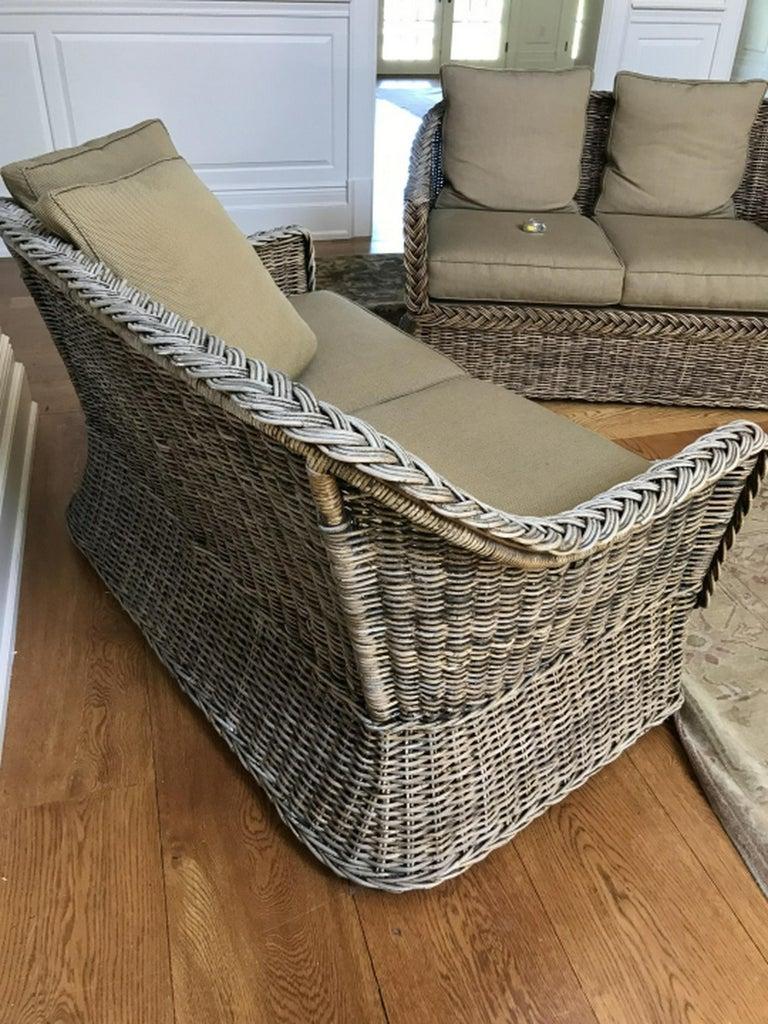 Vintage Wicker Sofa Loveseat For Sale 1
