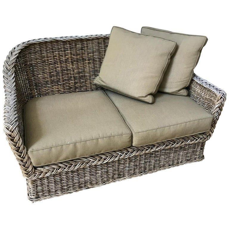 Vintage Wicker Sofa Loveseat For Sale