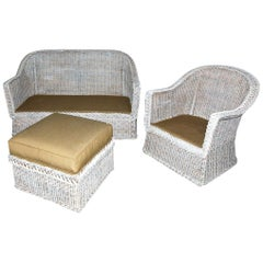 Vintage Wicker Sofa Loveseat with Matching Chair and Ottoman