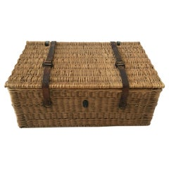 Vintage Wicker Trunk, Wine Basket from Bordeaux, France, 1930s