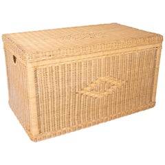 Vintage Wicker Trunk with Wooden Frame and Lid