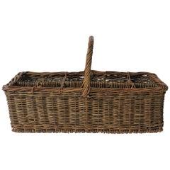 Vintage Wicker Wine Bottle Holder Basket