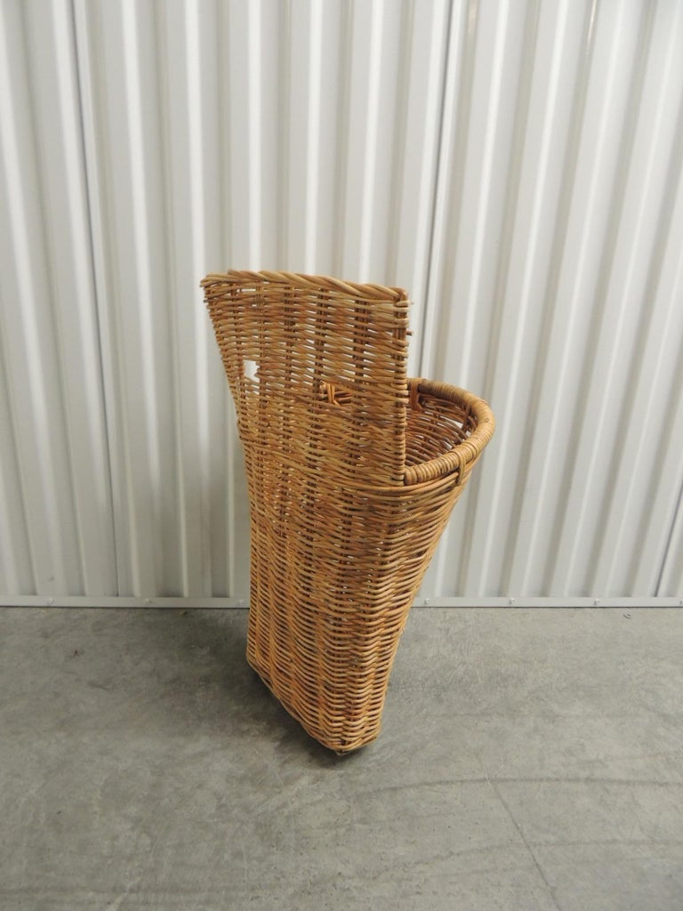 Country Vintage Wicker Woven Wall Basket or Umbrella Stand For Sale