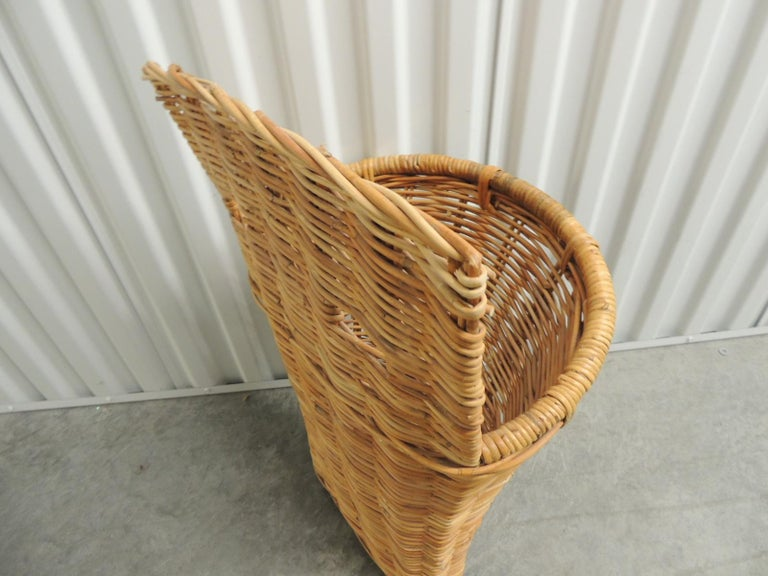 East Asian Vintage Wicker Woven Wall Basket or Umbrella Stand For Sale