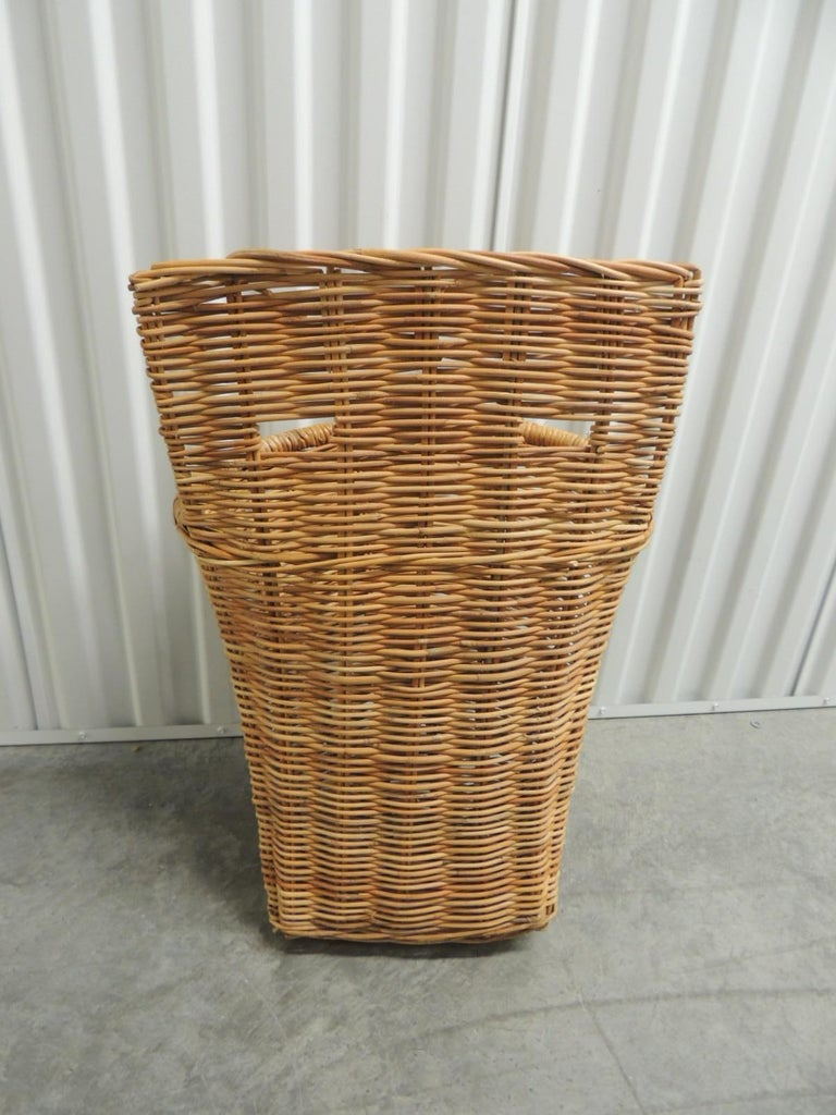Hand-Crafted Vintage Wicker Woven Wall Basket or Umbrella Stand For Sale