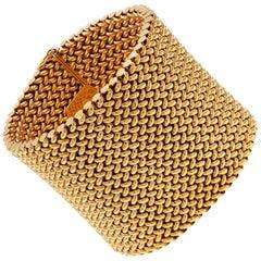 Vintage Wide 18ct Gold Flexible Mesh Bracelet