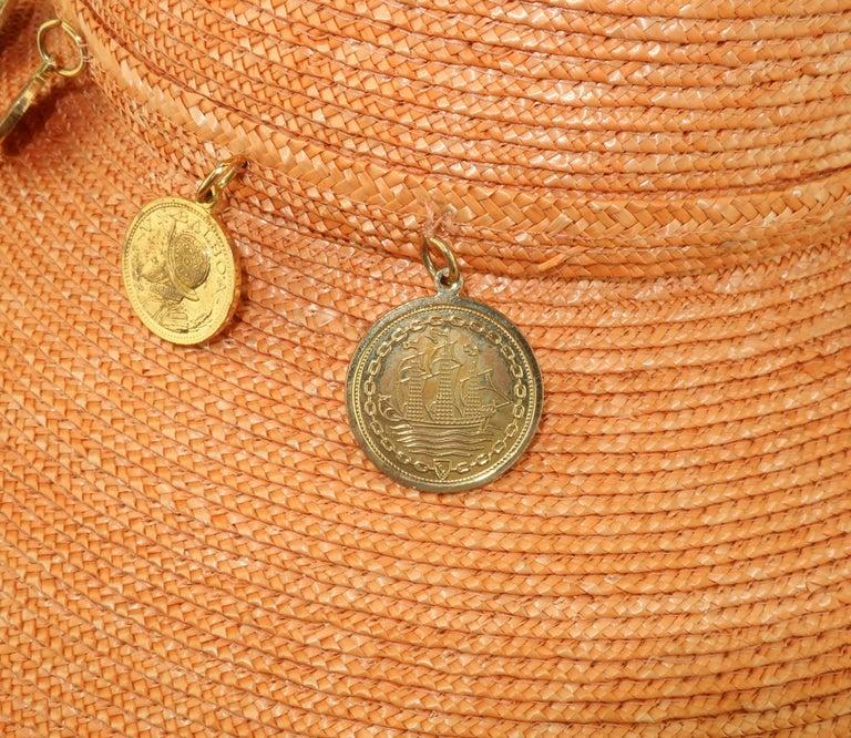 Vintage Wide Brim Straw Hat With Gold Coins 6