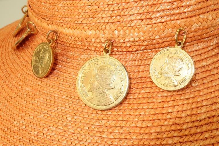 Vintage Wide Brim Straw Hat With Gold Coins 7