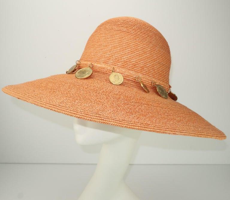 Vintage Wide Brim Straw Hat With Gold Coins In Fair Condition In Atlanta, GA