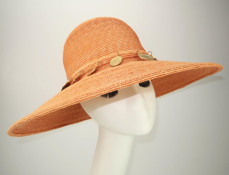 Women's Vintage Wide Brim Straw Hat With Gold Coins