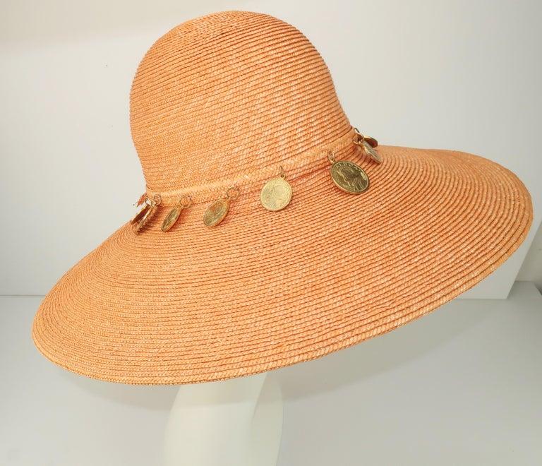 Vintage Wide Brim Straw Hat With Gold Coins 1
