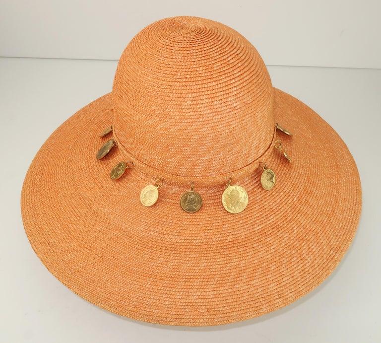 Vintage Wide Brim Straw Hat With Gold Coins 2