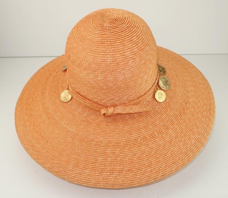 Vintage Wide Brim Straw Hat With Gold Coins 3