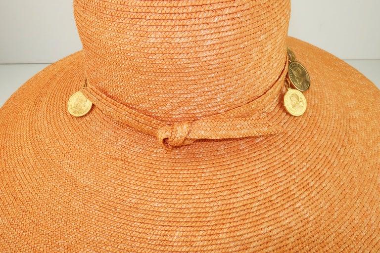 Vintage Wide Brim Straw Hat With Gold Coins 4