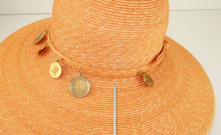 Vintage Wide Brim Straw Hat With Gold Coins 5