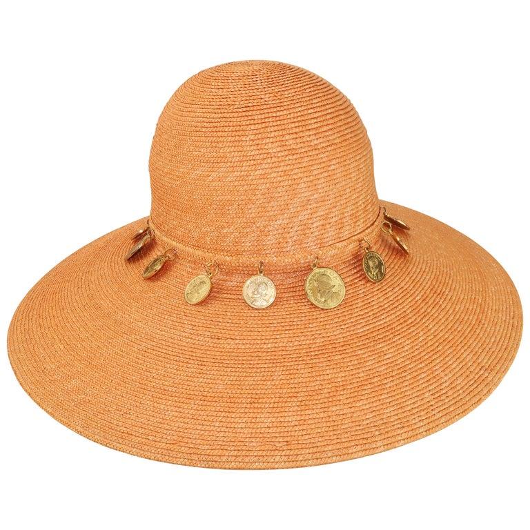 Vintage Wide Brim Straw Hat With Gold Coins