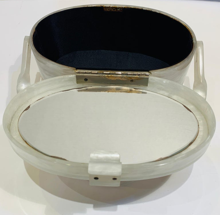 Vintage Wilardy Mid Century Modern Pearl Lucite Jeweled Top Twisted Handle Purse For Sale 6