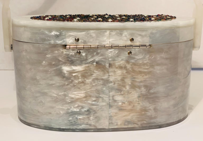 Vintage Wilardy Mid Century Modern Pearl Lucite Jeweled Top Twisted Handle Purse For Sale 4