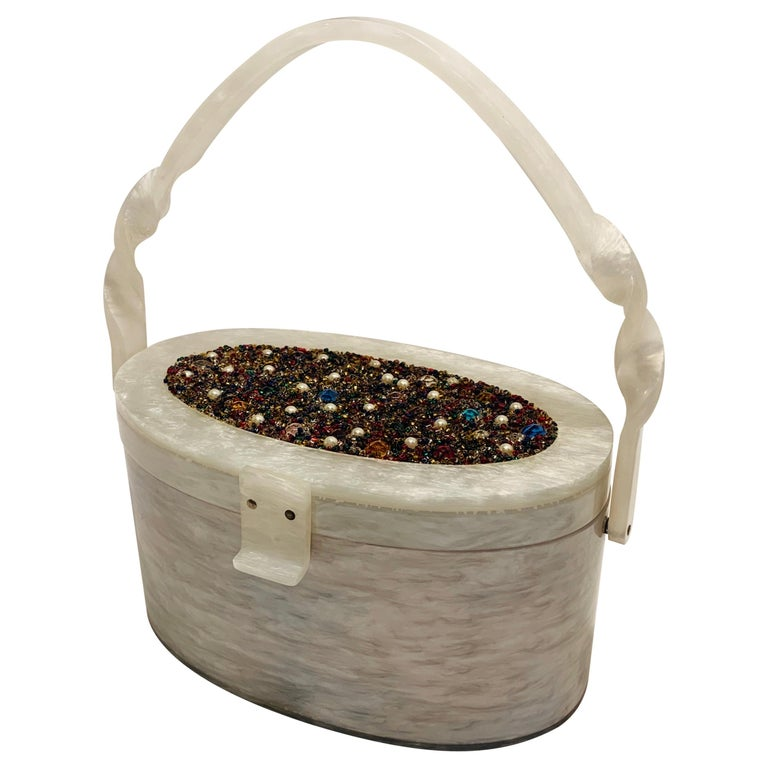 Vintage Wilardy Mid Century Modern Pearl Lucite Jeweled Top Twisted Handle Purse For Sale