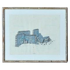 "Vintage William Cordova ""Ollantaytambo"" Collage in Antique Frame, Germany 2006"