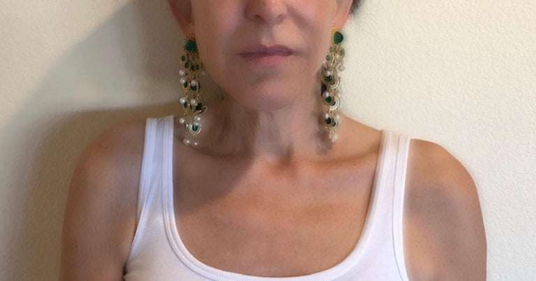 Vintage Faux Emerald and Pearl Fringe Statement Earrings  In Excellent Condition In Palm Springs, CA