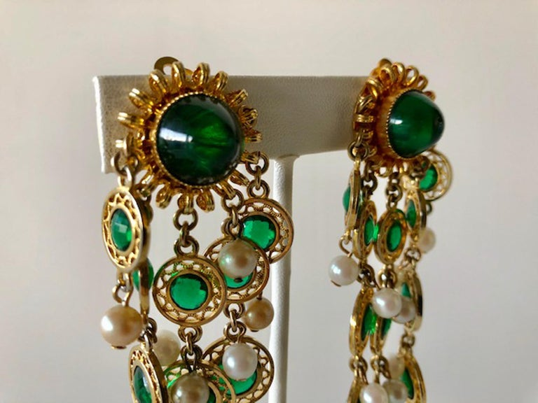 Women's Vintage Faux Emerald and Pearl Fringe Statement Earrings