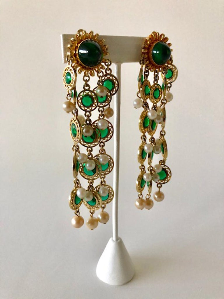 Vintage Faux Emerald and Pearl Fringe Statement Earrings  1