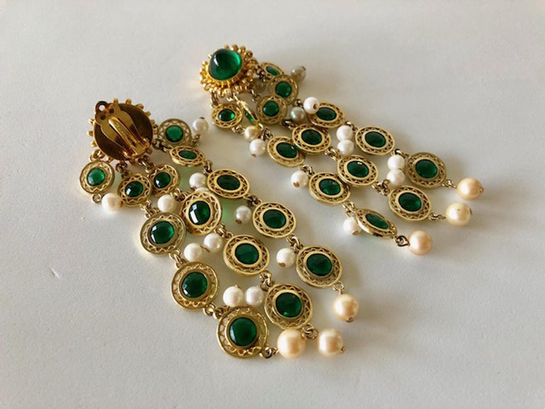 Vintage Faux Emerald and Pearl Fringe Statement Earrings  2