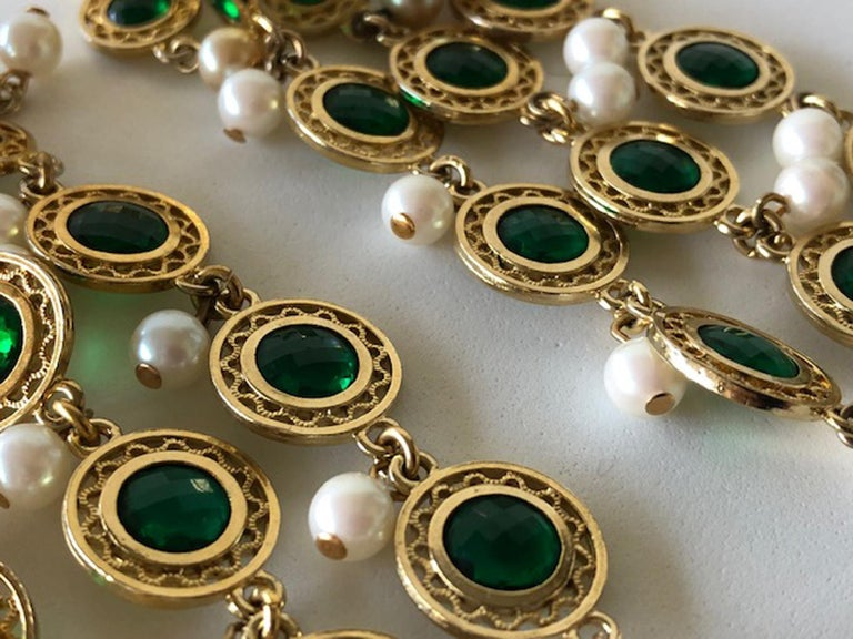 Vintage Faux Emerald and Pearl Fringe Statement Earrings  3