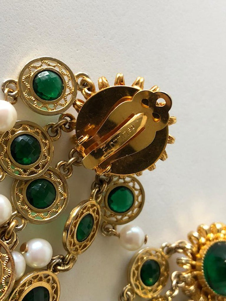 Vintage Faux Emerald and Pearl Fringe Statement Earrings  4