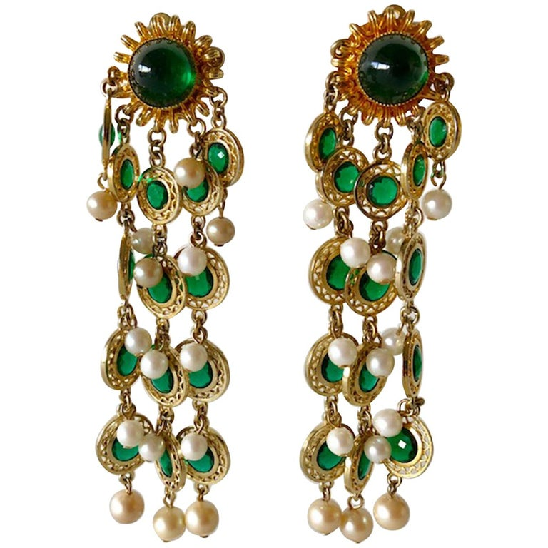Vintage Faux Emerald and Pearl Fringe Statement Earrings