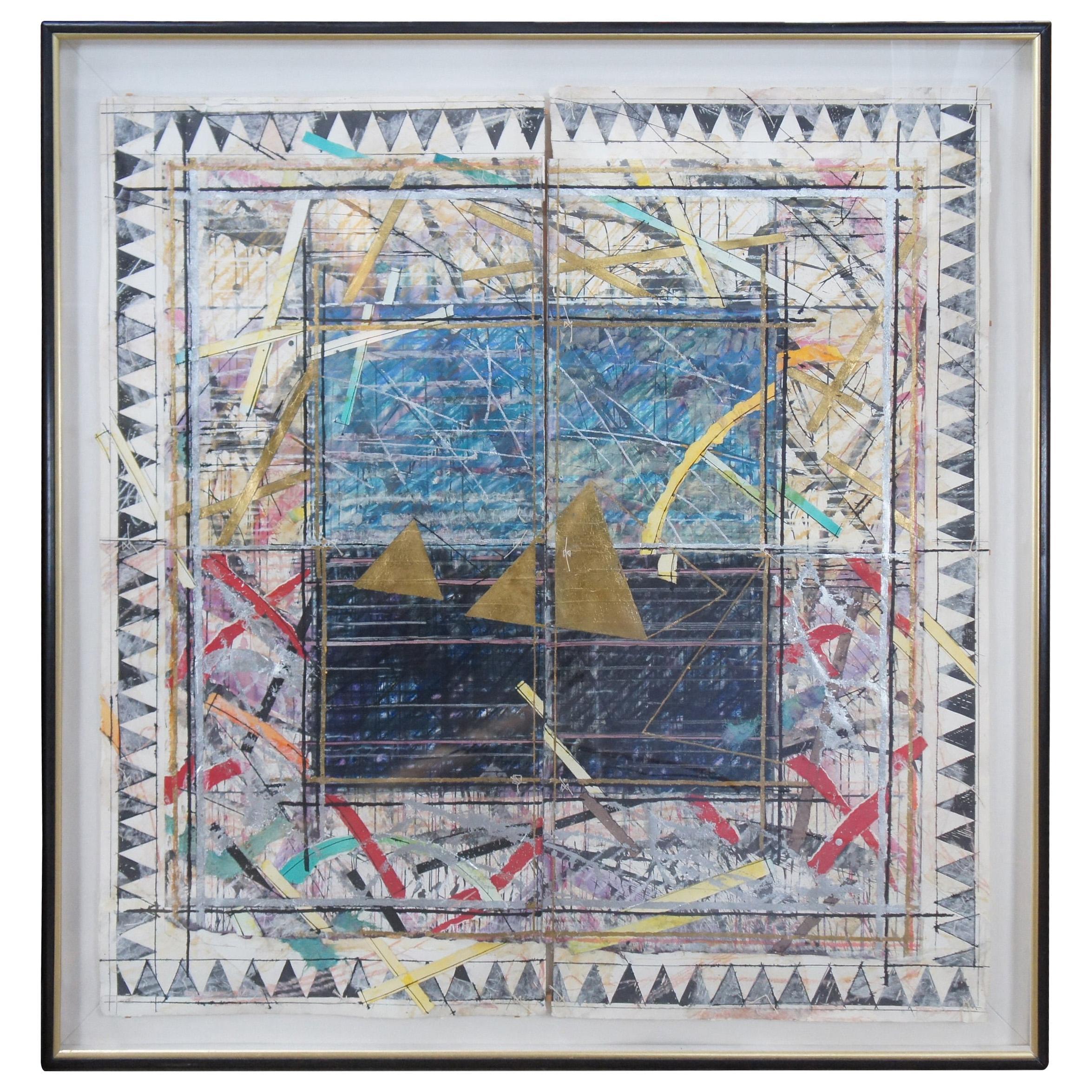 """Vintage William Gatewood Mixed Media Diptych Collage Kite & Kimonos 70"""""""