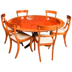 William Tillman Regency Dining Table and 6 Regency Style Chairs, 20th Century