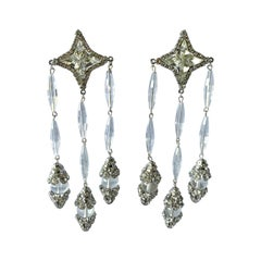 Vintage Willian de Lillo Star Diamante Chandelier Statement Earrings
