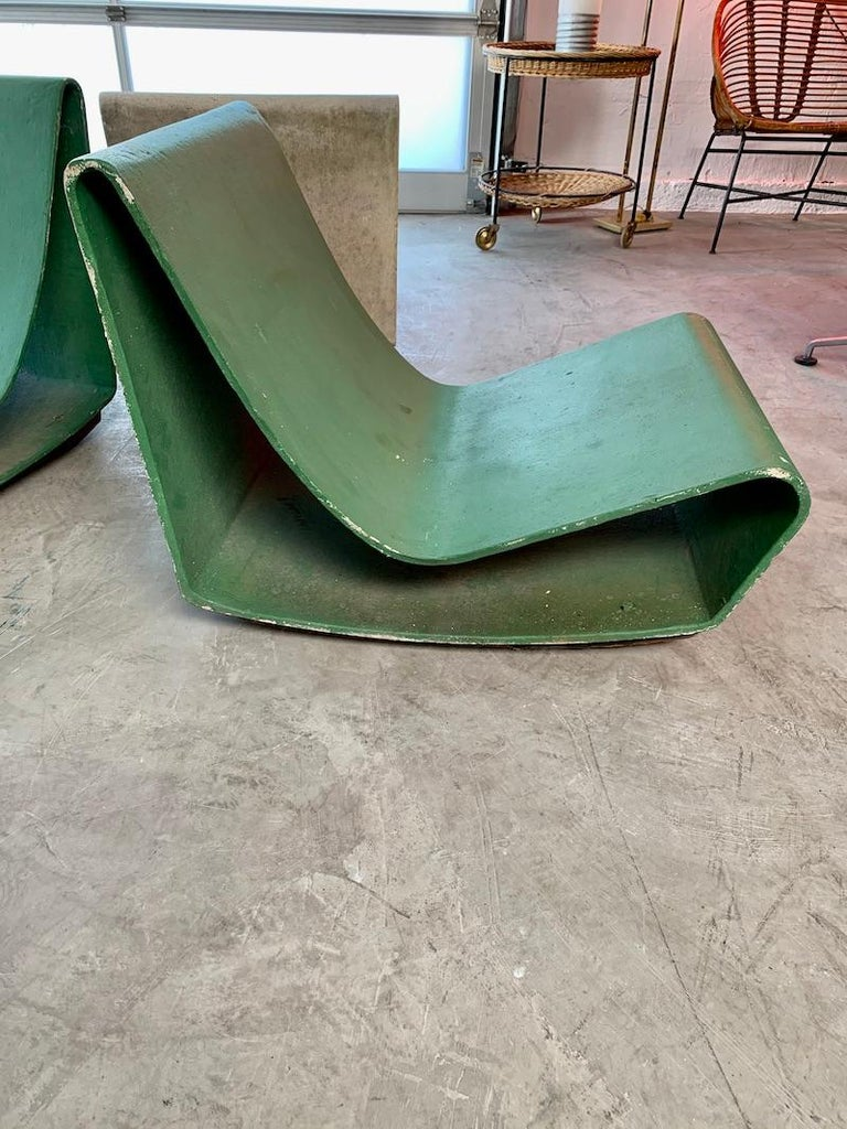 Cement Vintage Willy Guhl Loop Chairs For Sale
