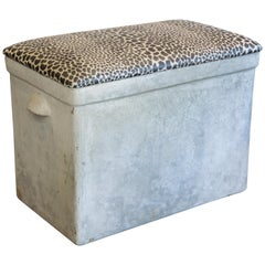 Vintage Willy Guhl Planter Bench with Cheetah-Print Top