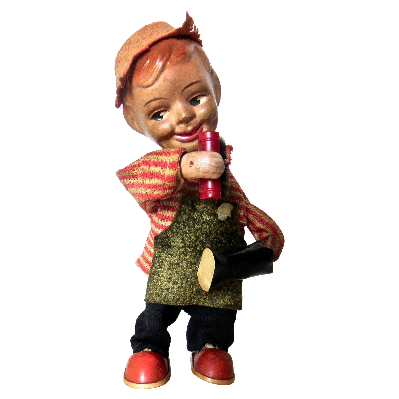 "Vintage Wind-Up Toy, Circa 1950 ""Smiling Boy Polishing Boots"" Rare"